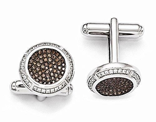 Rhodium-Plated Sterling Silver Brown and White CZ Pavé Round Cuff Links, 16MM