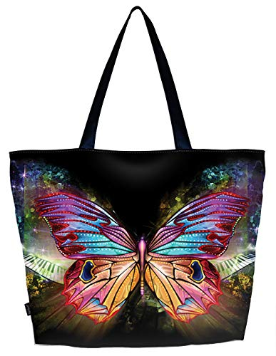 each Tote Bag Foldable Reusable Shopping Shoulder Hand Bag - Colorful Butterfly, Large ()