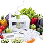 Mueller Spiral-Ultra Multi-Blade Spiralizer, 8 into 1 Spiral Slicer, Heavy Duty Salad Utensil, Vegetable Pasta Maker and Mandoline Slicer for Low Carb/Paleo/Gluten-Free Meals 7 WHY IS THIS THE BEST SPIRALIZER ON THE MARKET? - NEWEST, PATENTED DESIGN! Gravity does half the work so no awkward sideways pressure is needed. Excellent for making veggie pasta or spirals for healthy vegetable meals. The easiest to use, best spiral slicer-spiralizer for those on a gluten-free/low carb/raw food/Paleo diet. Replace high carb pasta or noodles with healthy and tasty vegetable equivalents. The Spiral-Ultra will do wonders for your diet. UNMATCHED QUALITY - Made from BPA-free professional grade, heavy duty reinforced food grade ABS for superior break resistance. Highly versatile thanks to the 4 ultra-sharp German 420-grade hardened stainless steel blades for endless fruit and vegetable creations. Provides a fun and unique way to take ordinary vegetables and fruits and make them into exciting spirals, ribbons, noodles and chips. EXTREME VERSATILITY SALAD UTENSILS: Why waste time with a knife or a box grater? With this spiralizer, you can get foods evenly sliced or finely grated in a fraction of the time. The Spiral-Ultra features all the benefits of a Tri-Blade or 4-Blade Spiralizer and more with this 8 in 1 Spiralizer - is also a Grater, Mandoline, and Juicer. Simply helping you make professional-looking garnishes, apple chips, onion rings, potato nests, elegant salads, vegetable pizza toppings, and so much more