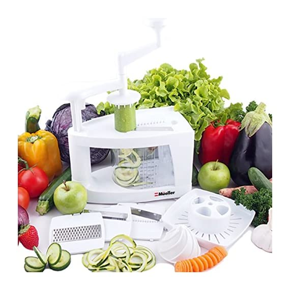 Mueller Spiral-Ultra Multi-Blade Spiralizer, 8 into 1 Spiral Slicer, Heavy Duty Salad Utensil, Vegetable Pasta Maker and Mandoline Slicer for Low Carb/Paleo/Gluten-Free Meals 2 WHY IS THIS THE BEST SPIRALIZER ON THE MARKET? - NEWEST, PATENTED DESIGN! Gravity does half the work so no awkward sideways pressure is needed. Excellent for making veggie pasta or spirals for healthy vegetable meals. The easiest to use, best spiral slicer-spiralizer for those on a gluten-free/low carb/raw food/Paleo diet. Replace high carb pasta or noodles with healthy and tasty vegetable equivalents. The Spiral-Ultra will do wonders for your diet. UNMATCHED QUALITY - Made from BPA-free professional grade, heavy duty reinforced food grade ABS for superior break resistance. Highly versatile thanks to the 4 ultra-sharp German 420-grade hardened stainless steel blades for endless fruit and vegetable creations. Provides a fun and unique way to take ordinary vegetables and fruits and make them into exciting spirals, ribbons, noodles and chips. EXTREME VERSATILITY SALAD UTENSILS: Why waste time with a knife or a box grater? With this spiralizer, you can get foods evenly sliced or finely grated in a fraction of the time. The Spiral-Ultra features all the benefits of a Tri-Blade or 4-Blade Spiralizer and more with this 8 in 1 Spiralizer - is also a Grater, Mandoline, and Juicer. Simply helping you make professional-looking garnishes, apple chips, onion rings, potato nests, elegant salads, vegetable pizza toppings, and so much more