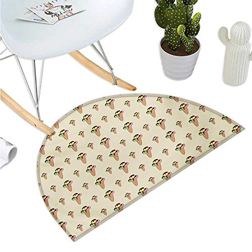 Ice Cream Semicircular Cushion Summer Season Dessert on a Cone with Chocolate Sauce Hand Drawn Cartoon Pattern Entry Door Mat H 35.4