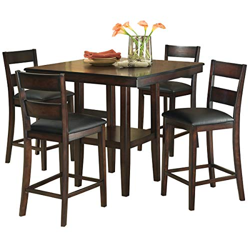 Standard Furniture 10036 Pendwood Counter Height Dining Table Set, Dark Cherry Brown