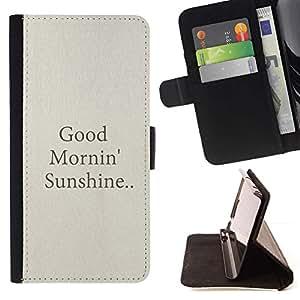 For LG G4 Case , Buenos días Sol Citar Texto Beige- la tarjeta de Crédito Slots PU Funda de cuero Monedero caso cubierta de piel