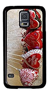 Happy Valentines Day Balloons DIY Hard Shell Black Best Fashion Samsung Galaxy S5 I9600 Case