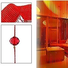 Imitation Crystal Beaded Tassel String Curtain Door Window Home Decor Divider 1 x 2M Red