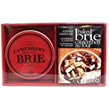 Gourmet Du Village Gift Set Brie and Camembert Cheese Baker with Lid and Toppings
