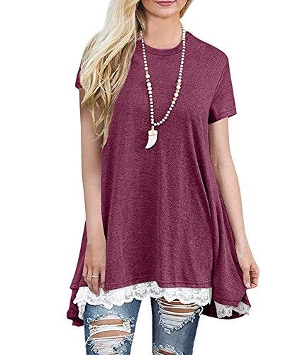 (Angerella Short Sleeve Plus Size Tunic Tops for Women Wine Red,XXL)