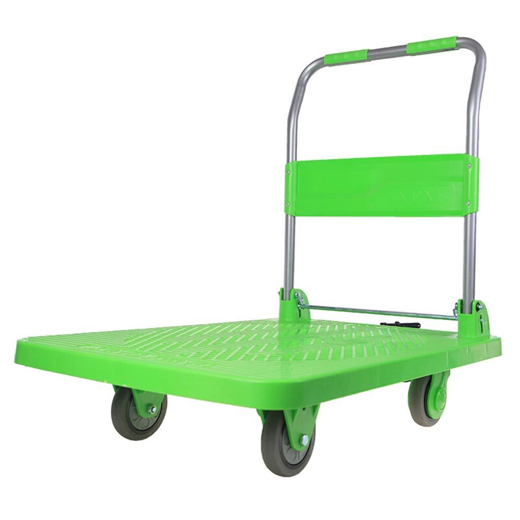 平面台車のプラットホームのカートのトラックの小さいトレーラーのトロリーカートのプラスチックボディ60 x 90重量約300kgグリーン B07QS2BR47