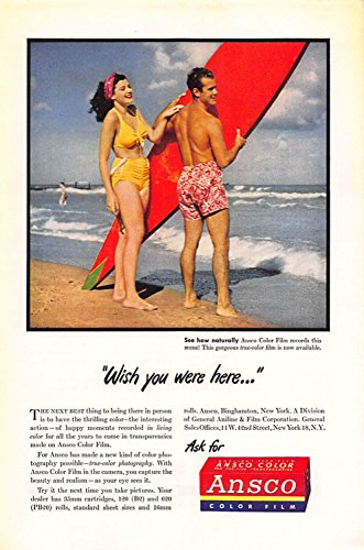 Film Ansco Color (Print Ad 1946 Ansco Color Film Wish you were here)