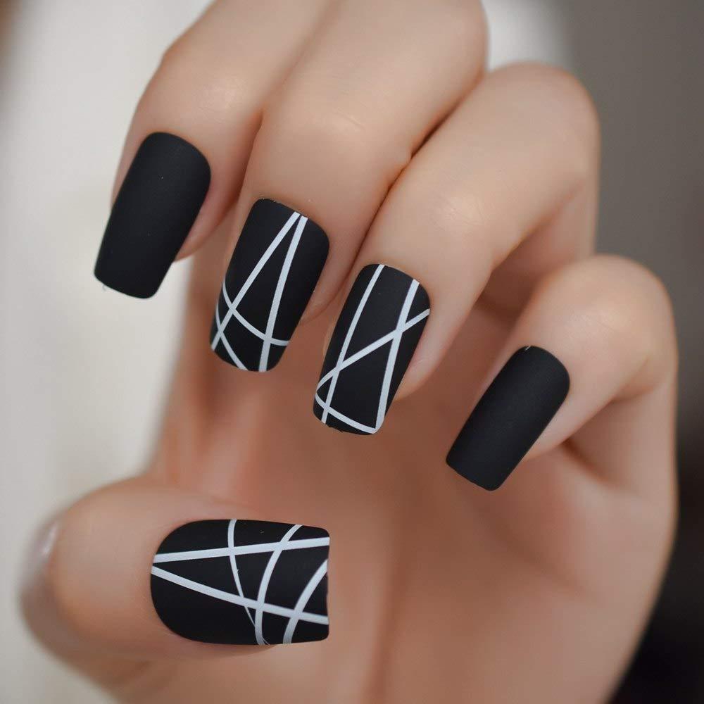 EchiQ White Line Matte False Fake Nails Black White Long