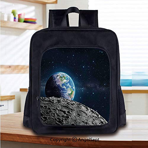 Print School Backpacks For Girls Kids View of Earth from Moon Surface Lunar Satellite Spacewatch Tracking Project Elementary School Bags Bookbag,Grey Dark Blue