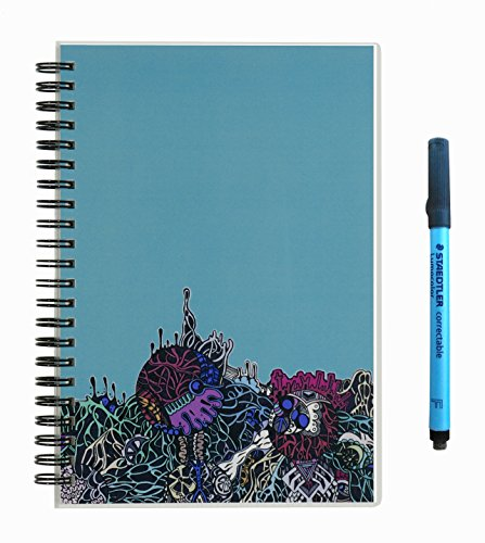 "Scrubby Reusable Whiteboard Notebook--Junior Size (5.5"" x 8"")--Alien Landscape Cover"