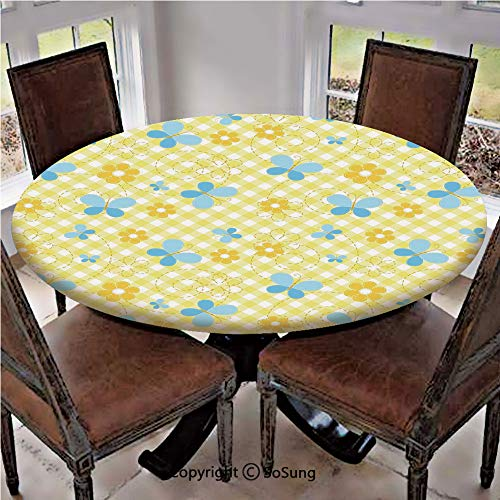 Elastic Edged Polyester Fitted Table Cover,Kids Pattern with Daisy Flower Figures and Cute Butterflies Decorative,Fits up 45