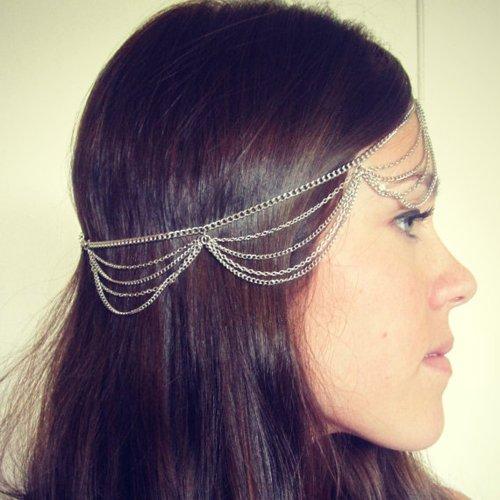 Mutilayers Tassels Headband Headpiece Silver