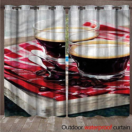 Espresso Support Panel - BlountDecor Coffee Grommet Curtain Panel Freshly Brewed Espresso W120 x L84