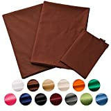 Emoor 100% Cotton 4 Pieces Cover Set for Japanese Traditional Futon, Full Size, Made in Japan, Anti-Bacterial & Mite-Resistant & Odor-Resistant, BitterBrown