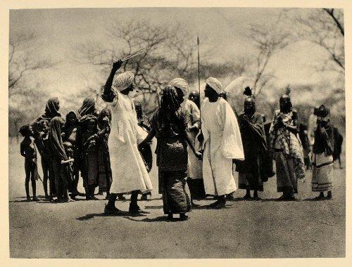 1930 Aulad Hamid Africa Dance Costume Sudan Bernatzik - Original Photogravure