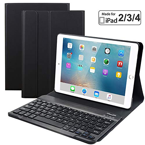 Eoso Keyboard Case for iPad 2/3/4 Built-in Wireless Slim Shell Magnetic PU Protective Cover for Men Women (Black) (Ipad 4 Keyboard)