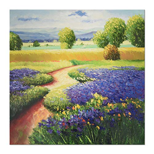 (7CANVAS -Hand Painted Tuscan Oil Painting Wall Art- Landscape Scene Rustic Wall Decor Stretched Canvas Painting Artwork Purple Flower Field Wall Picture for Home Decor(Purple Tuscany, 24x24 Inch) )