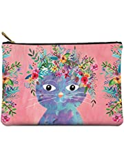 """Large Zippered Pouch by Studio Oh! - Fancy Cat - 10"""" x 7"""" - Faux Leather Material with Full-Color Artwork & Cotton Lining - for Makeup, Pens, Chargers & More"""