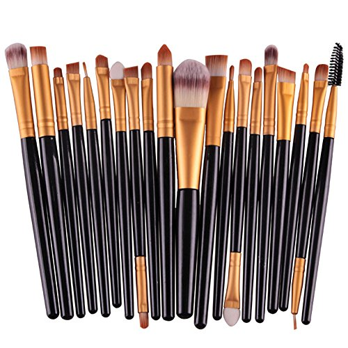 KOLIGHT Pack of 20pcs Cosmetic Eye Shadow Sponge Eyeliner Eyebrow Lip Nose Foundation Powder Makeup Brushes Sets (Gold&Black)