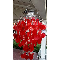 gardengreeters SOLAR CAPIZ SHELL WINDCHIMES/CHANDELIER RED HEART CAPIZ CHIMES WITH SOLAR LIGHT