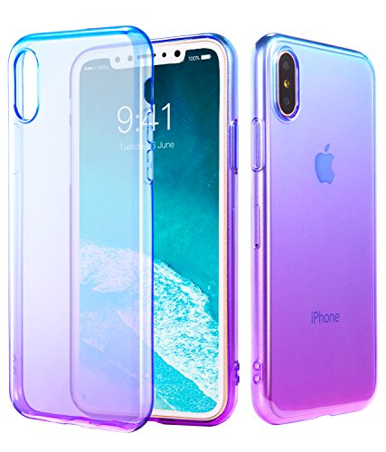 iPhone Xs Case, iPhone X Case, CLONG iPhone X/Xs Case Cover Gradual Colorful Clear Flexible TPU Slim Protection Case Compatible Apple 5.8 iPhone X (2017) and iPhone X (2018) - Blue Purple