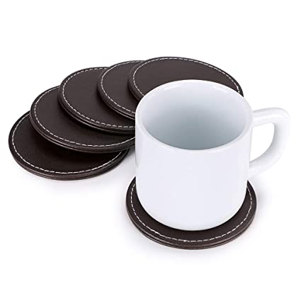 """Brown 4/"""" Leather Coasters with Holder Tabletop Protect Cup Mat for Drinks 2 SETS"""