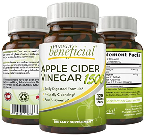 Organic Apple Cider Vinegar 1500mg - Raw, Non-GMO, Extra Strength, 120 or 180 Capsules, Vegetarian (120 Capsules)