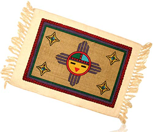 Tan, Yellow, Purple Rectangle Southwestern Native American Indian Scene Happy Smiling Sunshine Sun Cross Fringed Blanket Table Placemats Made of 100% cotton [Set of 2] + ()
