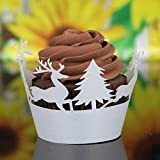 Muxika 24Pcs Christmas Tree Deer Hollow Lace Cup Muffin Cake Paper Case Wraps Cupcake Wrapper for Wedding Birthday Festival Party Decoration (White)