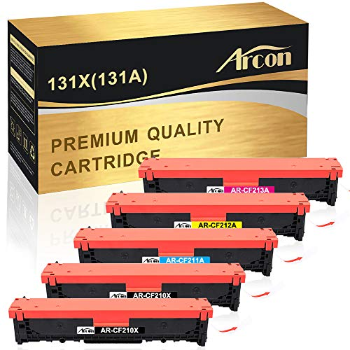 Arcon Compatible Toner Cartridge Replacement for HP 131A CF210A 131X CF210X M251nw M276nw for HP Laserjet Pro 200 Color M251nw MFP M276nw Canon MF8280Cw LBP7110Cw CF211A CF212A CF213A Printer-5 Packs