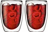Bodum PAVINA Coffee Mug, Double-Wall Insulated Glass Mug, Clear, 12 Ounces Each (Pack of 2)