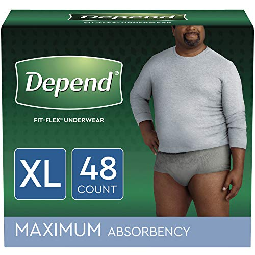 - Depend FIT-FLEX Incontinence Underwear for Men, Maximum Absorbency, Disposable, XL, Grey, 48 Count