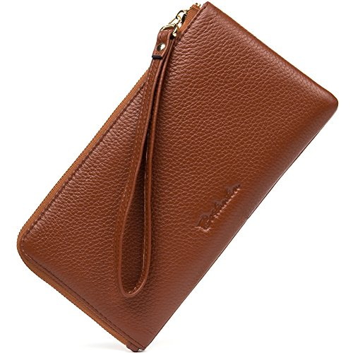 BOSTANTEN Women RFID Leather Wallet Designer Zip Clutch Travel Purse Brown
