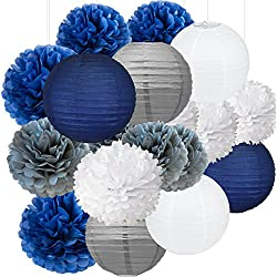 18pcs Navy Blue, White, Grey Tissue Paper Flowers Pom Poms Paper Lanterns Party Girl Decorations for Wedding Bridal Shower graduation bachelorette celebrate first birthday graduate supplies