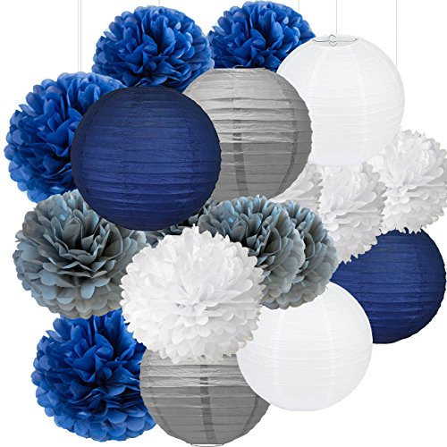 18pcs Navy Blue, White, Grey Tissue Paper Flowers Pom Poms Paper Lanterns Party Girl Decorations for Wedding Bridal Shower graduation bachelorette celebrate first birthday graduate supplies -