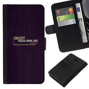 All Phone Most Case / Oferta Especial Cáscara Funda de cuero Monedero Cubierta de proteccion Caso / Wallet Case for Sony Xperia M2 // Enjoy Your Life