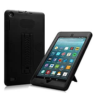 All-New Amazon Fire 7 2017 Case, Eontry Shockproof Heavy Duty Full Body Cover Rubber Plastic Protective Case with Build-in Kick Stand For All-New Fire 7 (7th Gen 2017 Release) (Black + Black)