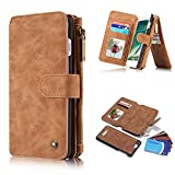 iPhone 7 Plus Wallet Case,iPhone 8 Plus Wallet Case,2 IN 1 Wallet Case Durable Leather Zipper Bag Cardholder Card Slot Falling Magnetic Closure Detachable Back Case For iPhone 7/8 Plus. (Brown)