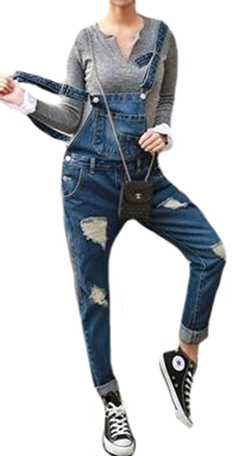 Binn Women Fashion Casual Grunge Hole Crimping Jeans Rompers