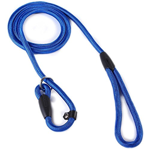 Marljohns Adjustable Nylon Dog Pet Rope Slip Training Leash Pet Collar Traction Rope(blue)