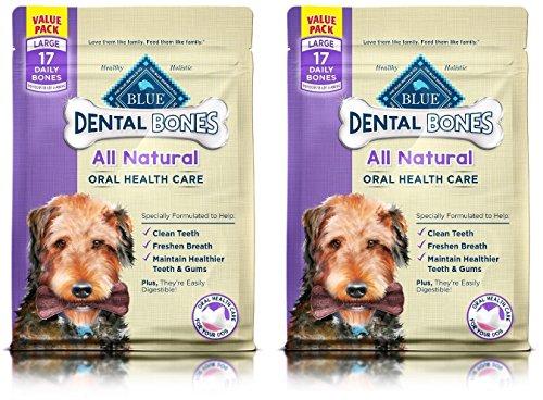 ((2 Pack) Blue Buffalo Large Blue Bones Natural Dog Dental Chews, 27-Ounce each)