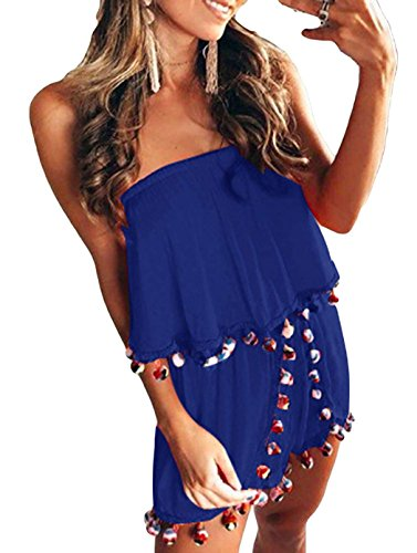 Women Jumpsuit, L'ananas 2018 Off Shoulder Ruffle Falbala Colorful Tassels Balls Decor Rompers Overalls (CN-XL/US-10, Blue) by L'ananas-Women Jumpsuit