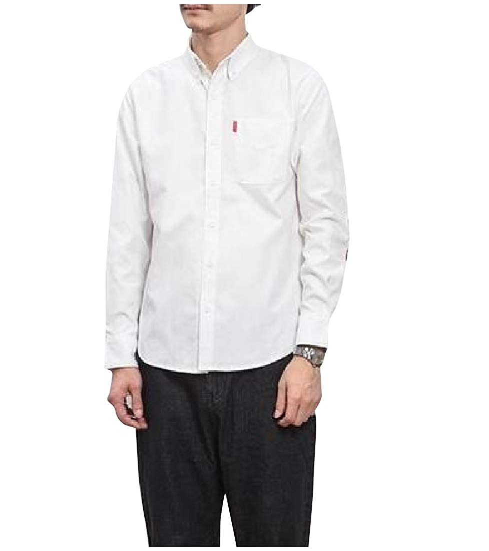 Mfasica Mens Turn-Down Collar Patched Long-Sleeve Buttoned Simple Shirts