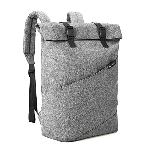 BAGSMART Laptop Backpack Weekender Travel Business Multipurpose Roll-Top Fashion Rucksack Fits 15.6 Inch Laptops, Grey