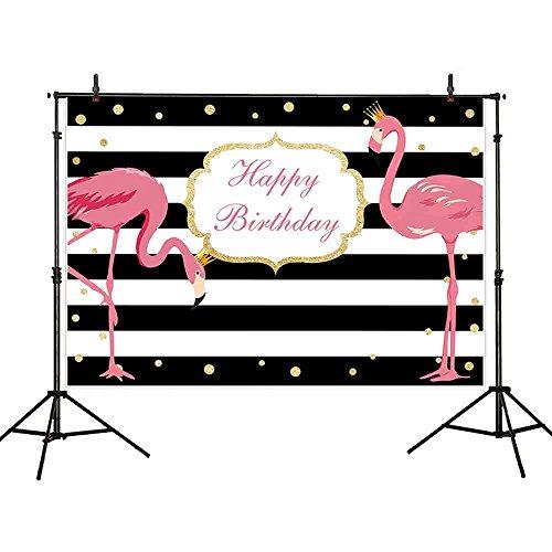 Allenjoy 7x5ft Polyester Pink Flamingo Birthday Party Backdrop Black White Stripe Golden Dots Dessert Table Banner Children Photography Background Decoration Photo Studio Props