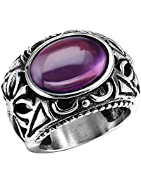 Men's Stainless Steel Oval Crystal Openwork Celtic Cross Ring Band Vintage Gothic Biker Silver Purple