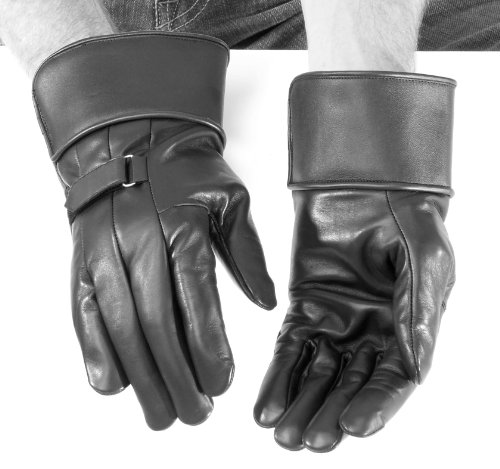 (River Road Custer Gauntlet Leather Gloves , Size: Md, Gender: Mens/Unisex, Primary Color: Black, Apparel Material: Leather XF09-1577)