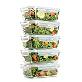 Fit & Fresh Glass Containers, Set of 5 Containers with Locking Lids, Meal Prep, 5 Pack, Glass Storage Containers with Airtight Seal, 28 oz.